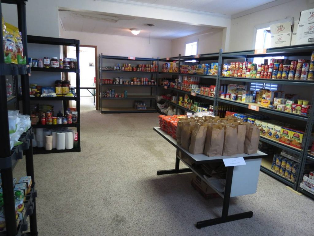Students set up a food pantry at their school