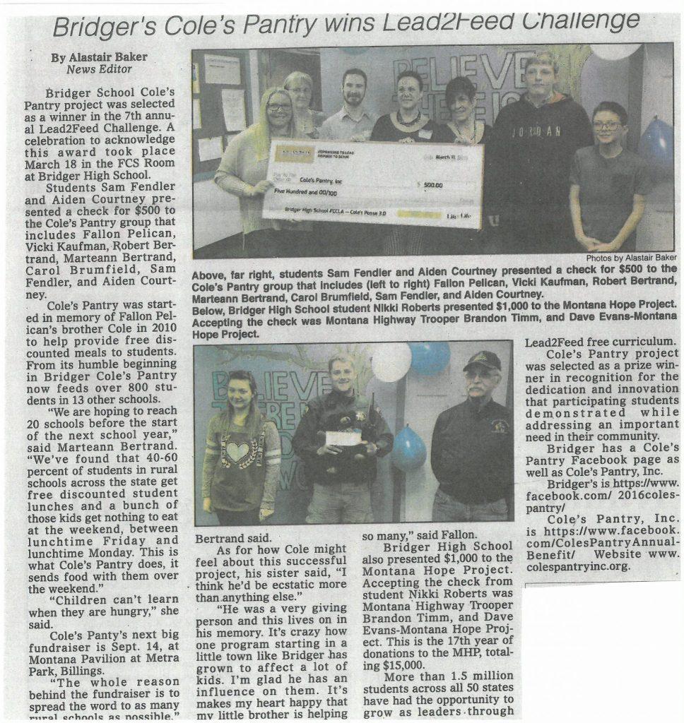 Bridger's Cole's Pantry wins Lead2Feed Challenge